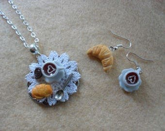 Polymer clay miniature porcelain dollshouse breakfast chain necklace