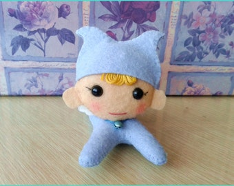 Little sky-blue Pixie in hand stitched wool felt