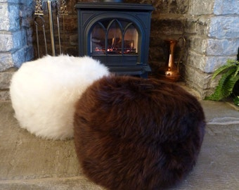 Handmade British Sheepskin Pouffe for Luxury Home Decor