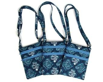 blue dog cross-body bag, blue x-body bag, purse, dog lover bag, woof,