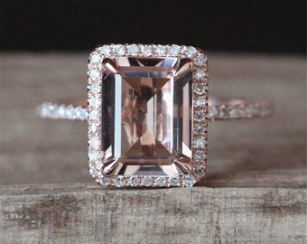 Gold Morganite Engagement Ring VS 7*9mm Emerald Cut Morganite Ring Diamonds Halo Ring Half Eternity Stackable Ring 14K Rose Gold Ring