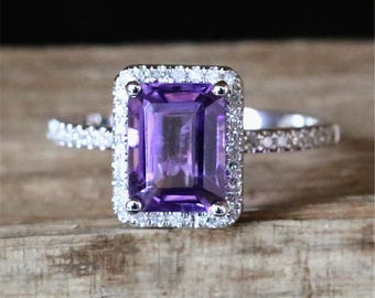 Natural Amethyst Birthstone Ring VS 6*8mm Emerald Cut Amethyst Engagement Ring Halo Diamonds Half Eternity Diamond Ring 14K White Gold Ring