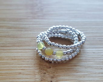 Collection Trilogy // Silver 925  and yellow Opal Elastic Ring