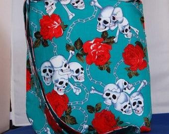 Women's Shoulder Bag Large Hipster Bag Handmade Skull & Roses Teal
