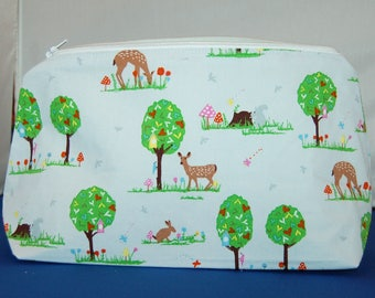 Forest Animals Makeup Bag / Pencil Case Handmade