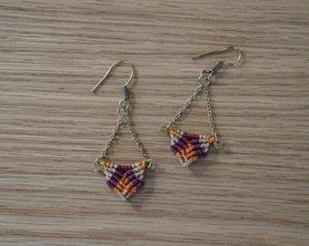 Handmade macrame earings with 3 colors