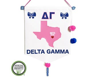 delta gamma sorority chapter pennant flag state print with chapter name red heart on 10oz white cotton duck canvas pink blue pompoms