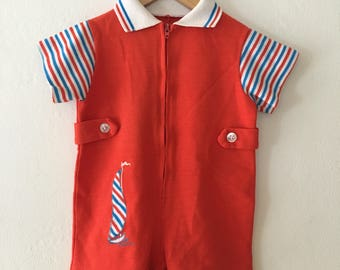 On Sale** Vintage 70s Baby Boy or Girls Red White & Blue Romper w/ Sailboat Shortalls 4th of July Outfit Size 12-18 Months