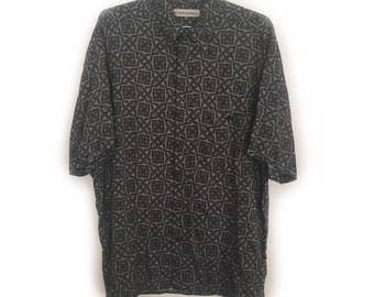 Geometric Munsingwear Shirt - Green Patterned - Men's Size M - Vintage (1990s)