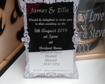Mirror Rococo Baroque Filigree Frame Wedding Invitations Lasercut Acrylic