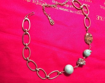 Chain Choker with Turquoise beads