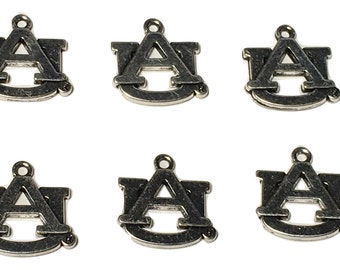 6 Auburn Tigers Charms  antique silver plated zinc alloy