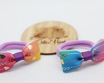 Nylon Hair Ties, Hearts, Gold, Purple