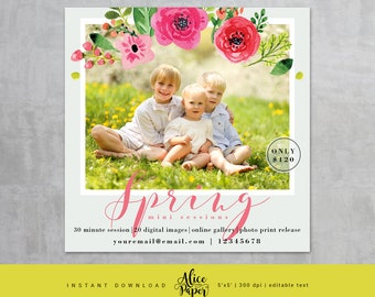 Spring Mini Session Template, Easter Mini Sessions, Marketing Board, Photoshop Template, Photography Marketing Set, PSD, Yellow pink floral