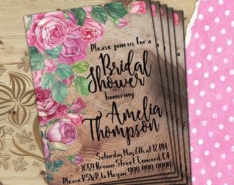 Rustic bridal shower invite Wood bridal shower invitation Floral bridal shower Rustic wood bridal invite Roses bridal invite 5x7 Printable