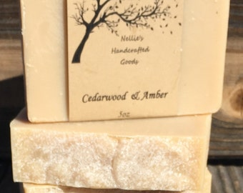 Cedarwood and Amber Goat's Milk Soap Bar - Natural Handmade Soap - Cold Process Soap - Sensitive Skin - Rustic - Gift Ideas