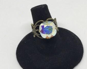 Swarovski Crystal Aurora Borealis Ring