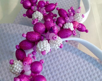 Hot Pink Beads on White Flip Flops. Order in Your Size!