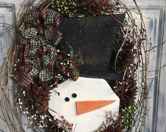 18 inch oval primitive country snowman wreath