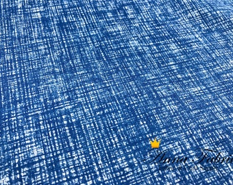 Japanese Fabric | Japanese Linen Cotton Fabric | KOKKA | grid pattern - Blue