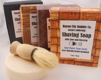 Cool Water Type Luxury Shaving Soap with Glycerin, Shea Butter & Aloe. Includes Free Shaving Brush!