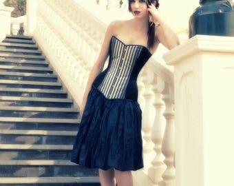 Black satin and striped fabric overbust corset - Gothic lolita dress - Elegant overbust corset