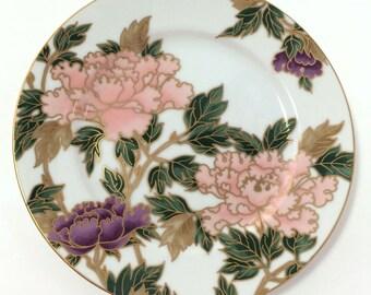 Vintage (2) Fitz & Floyd Cloisonne Peony white plates, Accent salad plates