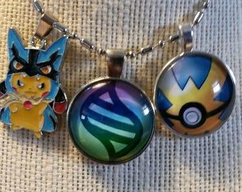 Mega Lucario Pikachu Quick Ball and Mega Stone Necklace