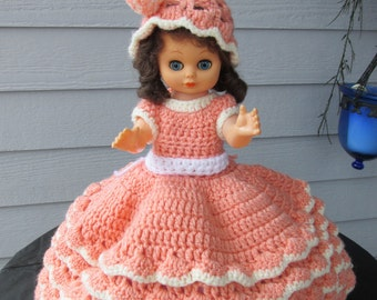 LAST CALL  Plastic Doll in Hand Made Crocheted Dress and Hat White and  Peach   603