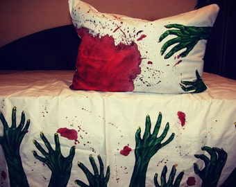 Handmade Zombie  Set of BedClothes pillowcase and bed sheet Zombie art