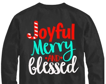 Joyful Merry and Blessed svg, Christmas svg, joyful svg, SVG, DXF, EPS, Christmas quote svg, merry svg,  cut file, blessed svg, joy