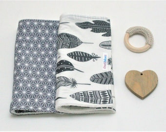 Burp Cloth & Wooden Crochet Teether Set Grey Stars and Feathers Cherry Wood Cotton Velour Terry Baby Shower Gift