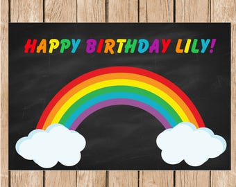 Rainbow Vinyl Birthday Banner