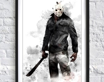 Friday the 13th - Jason Voorhees  'Inky' A4 Print
