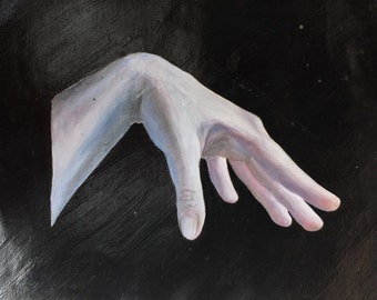 Original surrealist oil painting of a hand A4 size