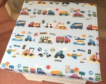 Handmade ottoman storage toy box little boys blue cars and trucks - Made in Devon
