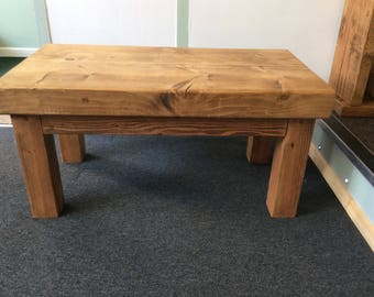Solid wood coffee table handmade in Devon