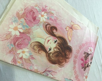 Gorgeous | Vintage | Girl & Kitten | Wrapping Paper