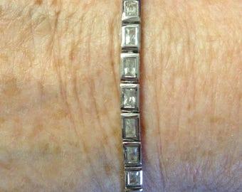 Sterling Silver Emerald Cut Tennis Bracelet