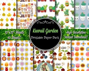 Kawaii Garden Digital Paper, Scrapbook Paper, Digital Paper Pack, Digital Scrapbooking, Digiscrapes, Kawaii Clipart, Kawaii Clip Art
