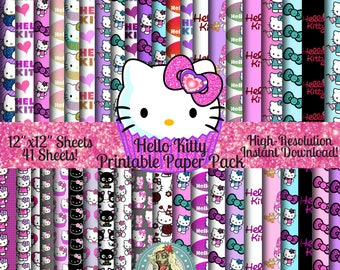 HELLO KITTY Digital Paper Pack, Sanrio, Hello Kitty Birthday, Hello Kitty Planner, Scrapbook Paper, Digital Paper, Hello Kitty Paper