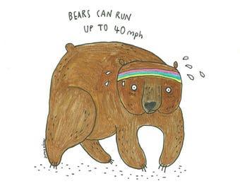 Running Bear Limited Edition Art Print