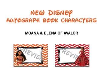 Disney Autograph Book Printables - Moana & Elena of Avalor ONLY - Disney Characters - Disney World - Princess Printables - Chevron