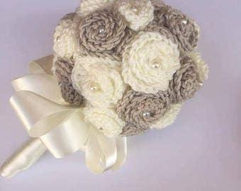 Hand crocheted bridal posie in Cream and Beige