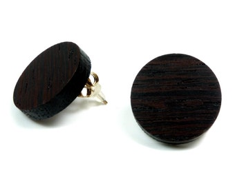 Wooden earrings / wood jewelry Wenge with 925 sterling silver Stud Earrings | Natural jewelry | Ear jewelry