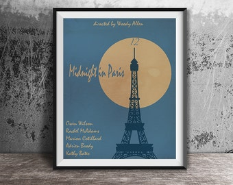 Movie poster print,Midnight in Paris-the movie poster print,Minimalistic movie art,Film poster,Movie poster printables,Instant download