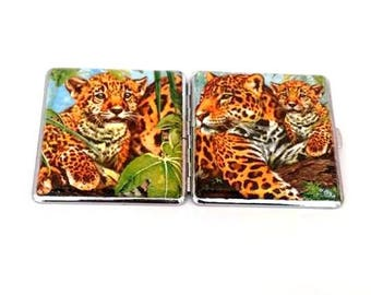Metal cigarette case  with panthers, Cigarette case  with panthers, With panthers, Cigarette case, With panther, Smoking cigarette, Smoking
