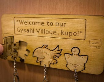 "Final Fantasy Inspired ""Welcome to our Gysahl Village"" Lasercut & Engraved keyring and wall mount"