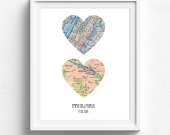 Heart Map Art, Map Heart, Heart Map Print, New Home, Personalised Engagement Gift, First Anniversary, Custom Map,Paper Anniversary,Map Print
