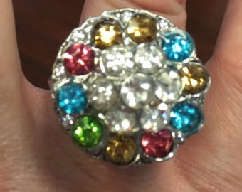 Great Bling Ring with a Colorful 20mm Interchangeable Snap - Fits all 18mm Snap Jewelry